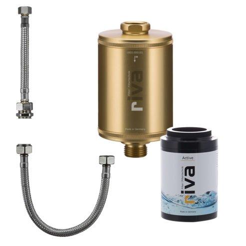 riva-trinkwasser-filter-active-set-chlor-schwermetalle-geruch-kdf-filter-aktivkohle-Spüle-wasserhahn-leitungswasser-filter-gold mit anschluss-set