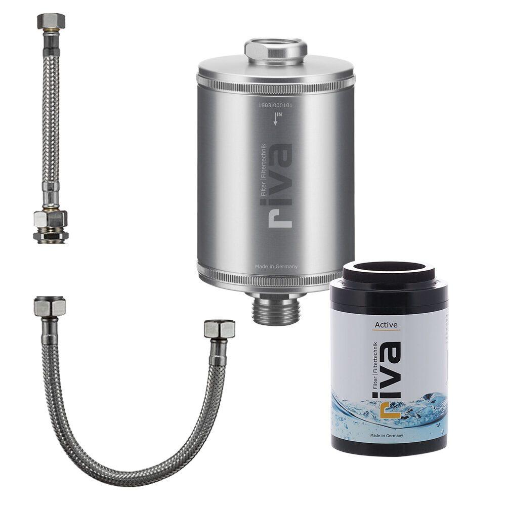 riva-trinkwasser-filter-active-set-chlor-schwermetalle-geruch-kdf-filter-aktivkohle-Spüle-wasserhahn-leitungswasser-filter-silber mit anschluss-set