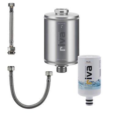 riva filter-TRINKWASSER-filter-SET-KARTUSCHE-MULTI-SCHLAUCHSET-Legionellenfilter-Bakterien-silber