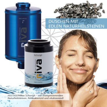 riva Dusch-Filter Schungit-energetisierend-filtert chlor-schadstoffe-bakterien-kalk-blau