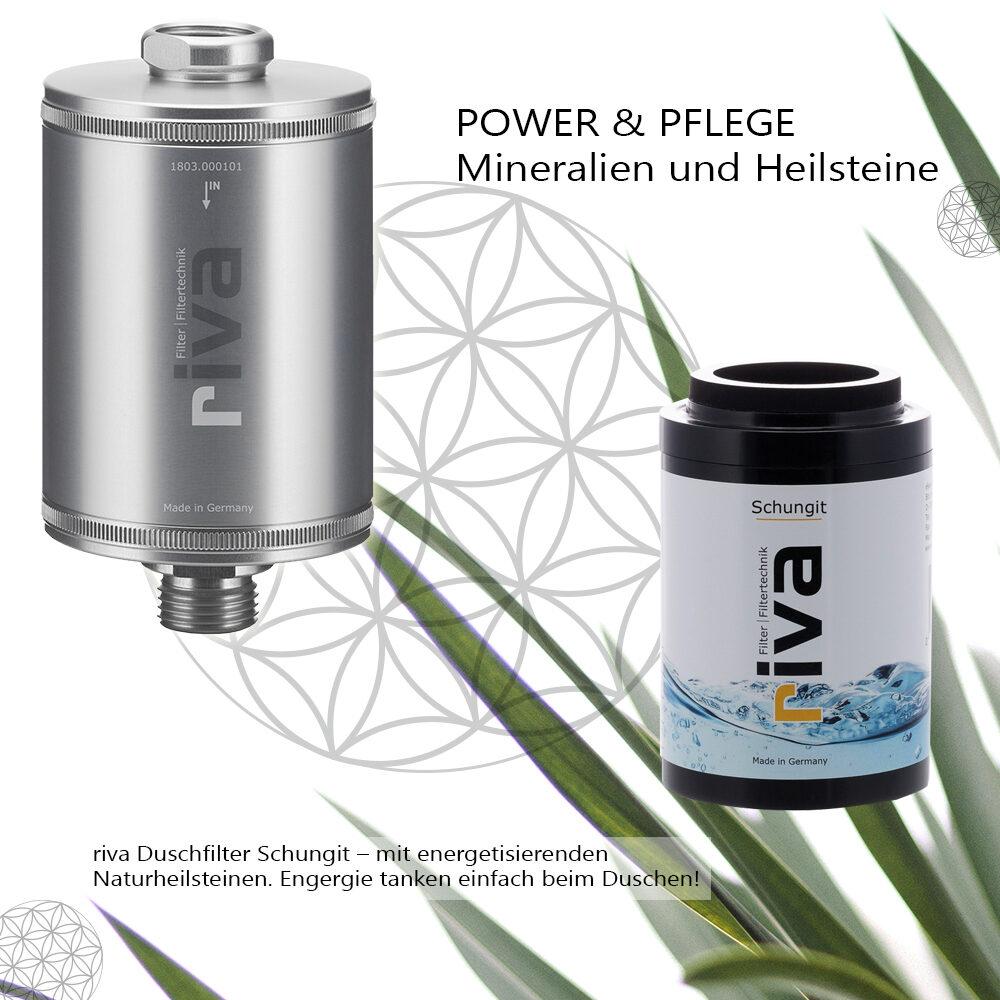 riva Dusch-Filter Schungit-energetisierend-filtert chlor-schadstoffe-bakterien-kalk-silber