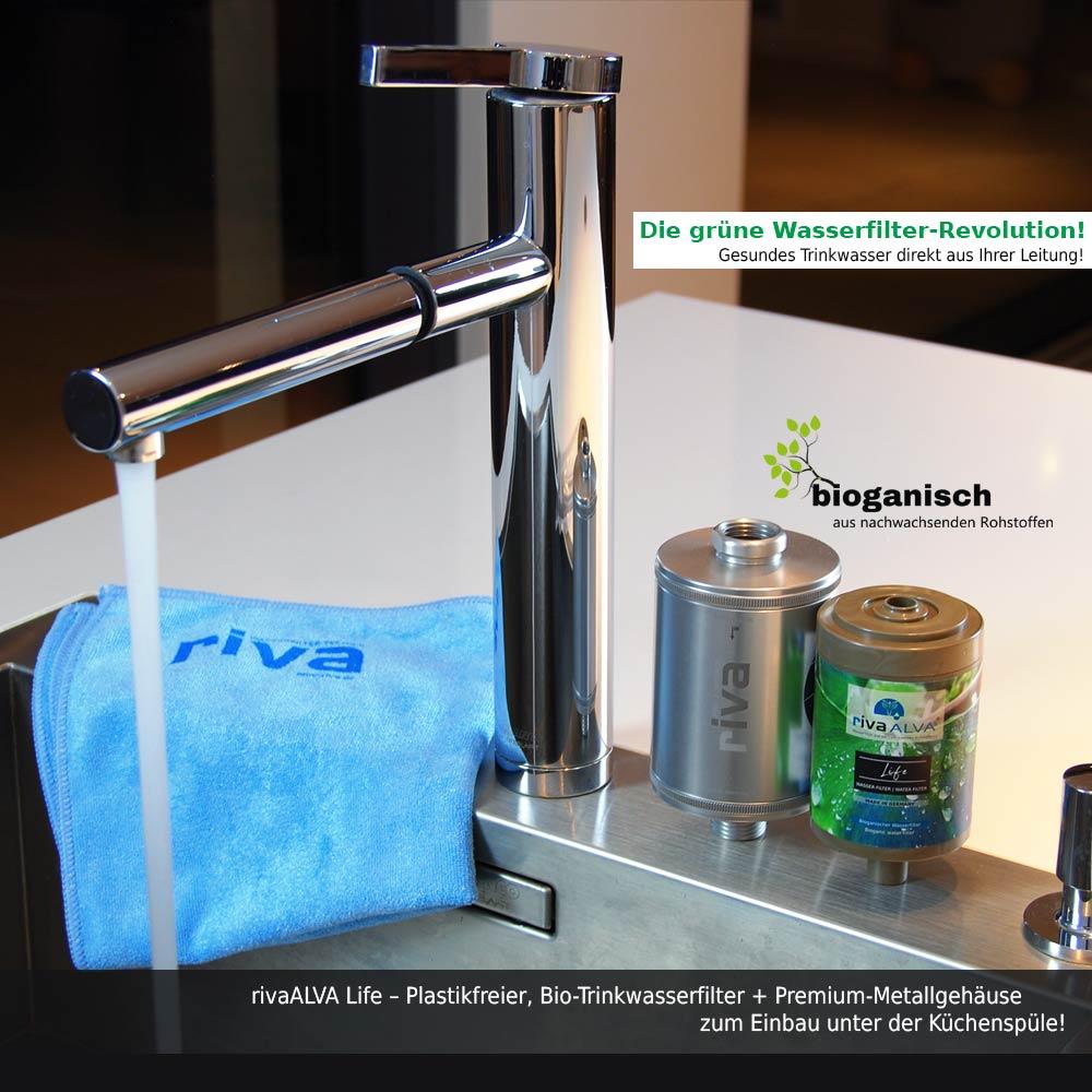 rivaALVA Trinkwasserfilter LIFE  Filter-Set mit VARIO Metall-Gehäuse und  PLASTIKFREIE, bioganische Filterkartusche, ohne Schlauchanschluss-Set! -