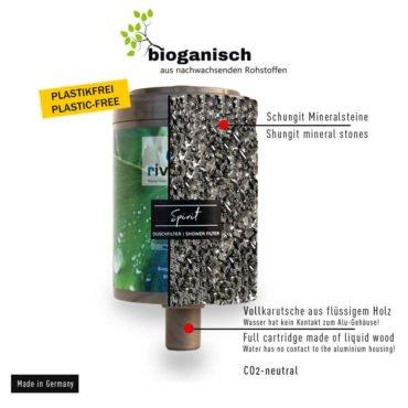 riva-alva-spirit-Duschwasserfilter-ersatzkartusche_Filtermaterial-energetische-schungitsteine-flüssiges-Holz-bio-filter-plastikfrei
