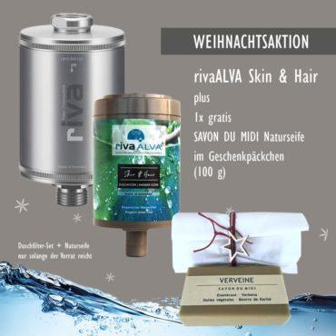 Weihnachts Geschenkset Naturseife Duschfilter aktion rivaalva duschfilter-set